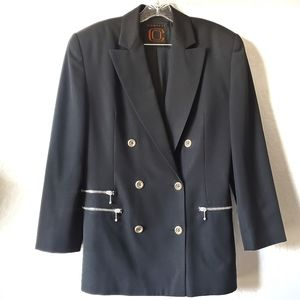 Ellen Tracy Double Breasted Black Wool Blazer